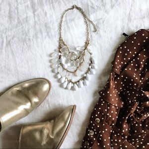Francesca's | White and Gold Statement Necklace